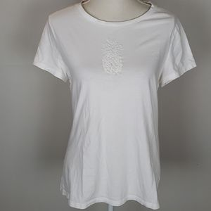 Talbots Pineapple Tee White EUC